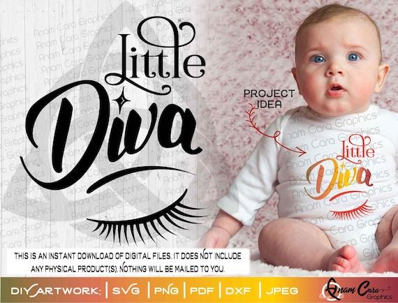 SVG  Little Diva   Cut or Print DIY Art for Onesie® Cute Fun Baby Shower New Baby Girl Lil Miss Newborn Girly Girl Eyelashes Makeup Princess