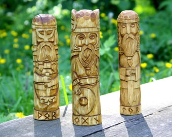 Norse Gods  - ODIN, THOR and TYR. Wooden gods . Small Wooden Figurines. Wotan.