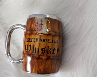 Custom wood grain barrel mug