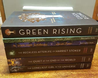 6 books - signed personalised UK paperback copies of Green Rising, Reckless Afterlife, Quiet, Loneliest Girl, Starlight Watchmaker, Deep sea