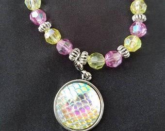 White/Pink/Yellow Mermaid Bracelet