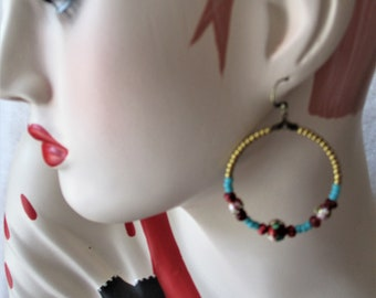 Stunning hoop earrings with pearls of Bohemian style handmade