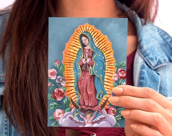 Our Lady of Guadalupe - Prayer Card - Postcard - Holy Card - Art Print - 4x6