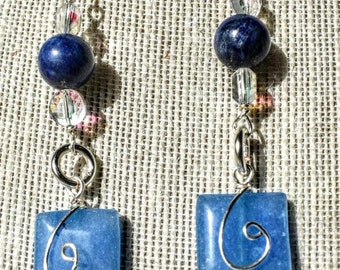 3.5 inch Silver wrapped lapis, Jade, glass and Swarovski crystal earrings