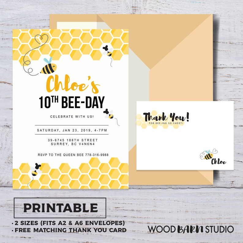graphic relating to Free Printable Bee Template named Bee Working day Invite Template, Bumble Bee Birthday Invitation Template, Printable Bee Honeycomb Birthday Invite, Printable, Do it yourself, Thank Your self Card