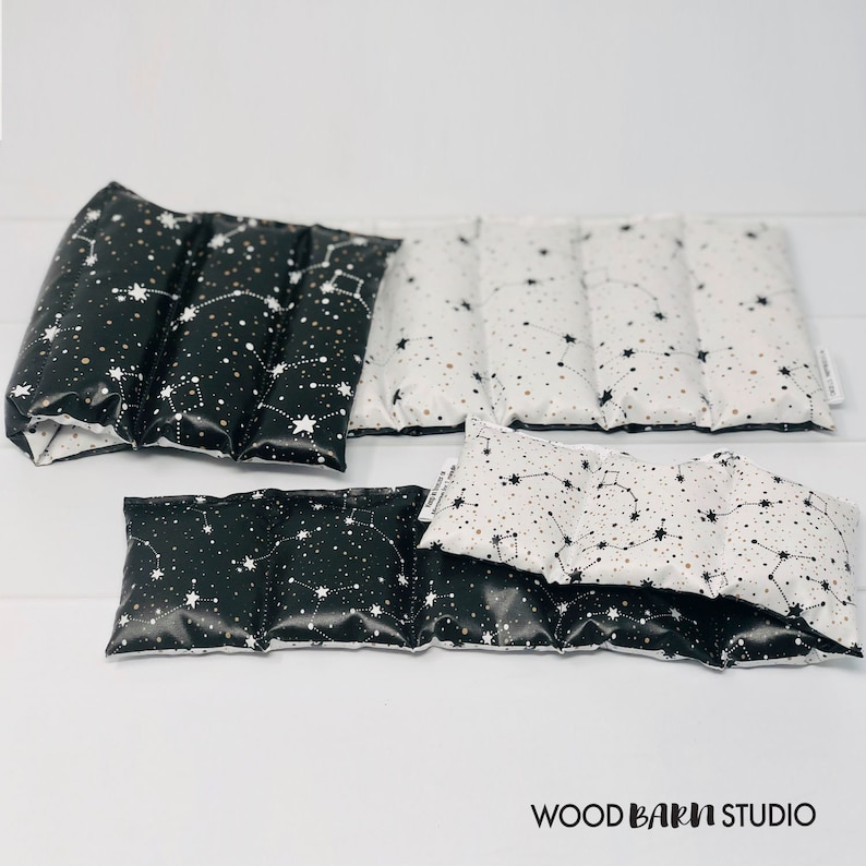 Weighted Lap Pads, Easy Clean Polyester, Black and White Shooting Stars,  Flax Seed, Autism ADHD SPD sensory, for Anxious Children, Canada