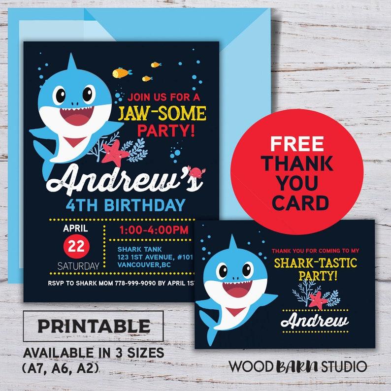 Baby Shark Invite Template Blue Pink Yellow Birthday Invitation Printable DIY Free Thank You Card