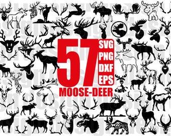 DEER SVG, MOOSE svg, Antler svg, Deer Moose Antlers, moose head svg, deer head svg, wildlife, cricut silhouette, stencil, decal, cut files
