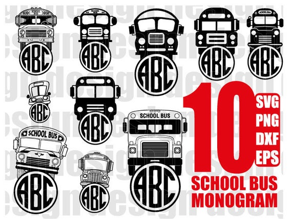 School Bus Monogram Svg Bus Monogram Svg Back To School Svg Etsy