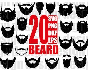 BEARD SVG, long beard svg, beards png, short beard file, hipster beard, beard silhouette, png eps dxf clipart, stencil, decal, cut files