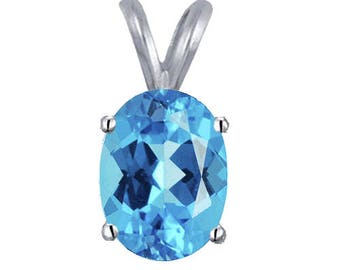 2 Ct Swiss Blue Topaz Pendant 14k White or Yellow Gold
