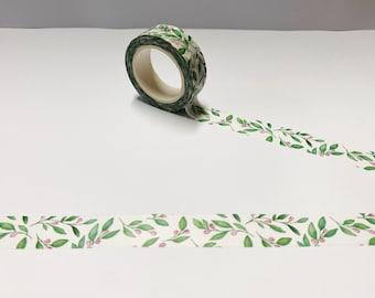 Green foil washi tape set of 3 Stripes Tropical leaves Masking tape