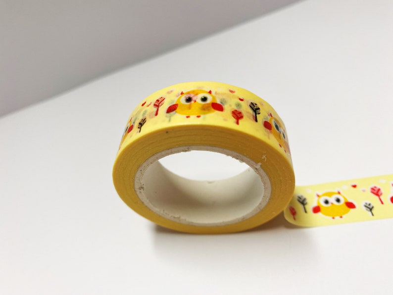 Cute Planner Owl Washi Tape Matt Washi Animal Washi Owl Stationery Kawaii Washi Bullet Journal Accessories Planner Supplies