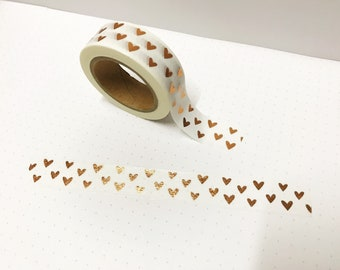 Gold Foil Heart Washi Tape, Weekly Planner, 15mm Washi Tape, Washi Tape UK, Bullet Journal Accessories, Simple Planner, Planner Accessories