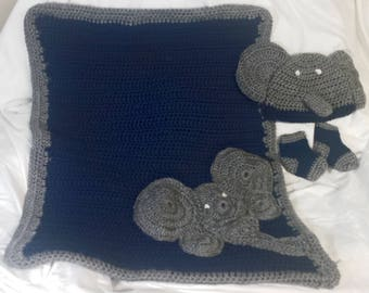 Crochet Baby Girl/Boy Blanket Outfit Welcome Home Kit Elephant