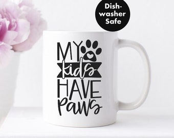 My Kids Have Paws Christmas Mug Dog Lovers Gift Mug Cup Red Inside