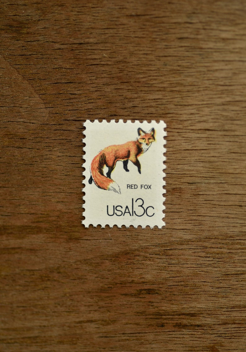 10 Red Fox Vintage Postage Stamps UNUSED 13 Cent Stamp