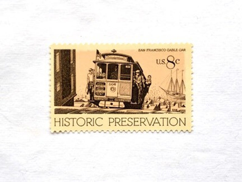 dcee92aee79 10 Historic Preservation Cable Car Postage Stamps // UNUSED // | Etsy