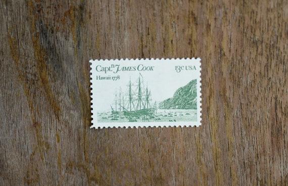 10 UNUSED Vintage Postage Stamps Captain James Cook