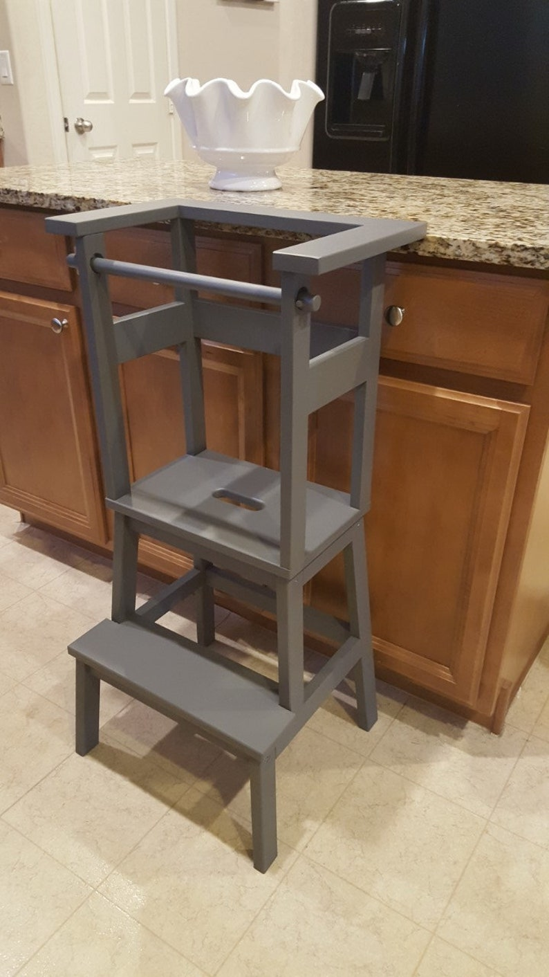 Remarkable Little Helper Stools Learning Tower Toddler Step Stool Dark Grey Alphanode Cool Chair Designs And Ideas Alphanodeonline