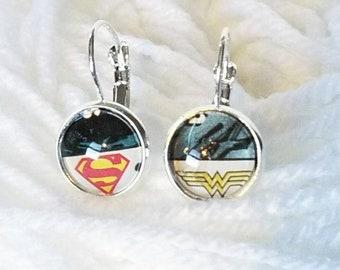Superman & Wonder Woman Earrings