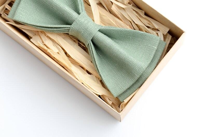 70d1a0edb0da Sage Green mens wedding bow ties Eco Friendly Linen wedding | Etsy