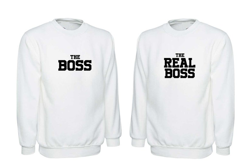 bf45bd0d4 Couple Sweatshirt The Boss The Real Boss The Boss Shirt | Etsy