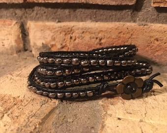 Black Silver Wrap Ladder Bracelet