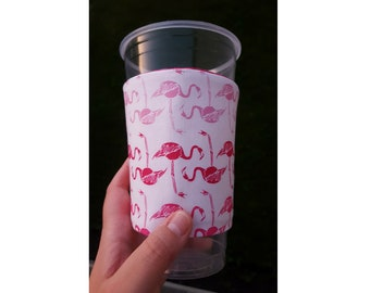 Flamingos REVERSIBLE Drink Cozy - ONE SIZE fits most!