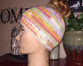 Messy Bun Beanie Hat