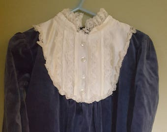 Vintage dark blue velvet child's dress