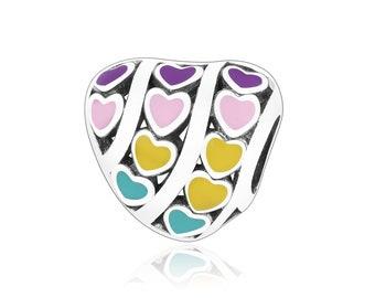 Rainbow Enamel Heart Charm