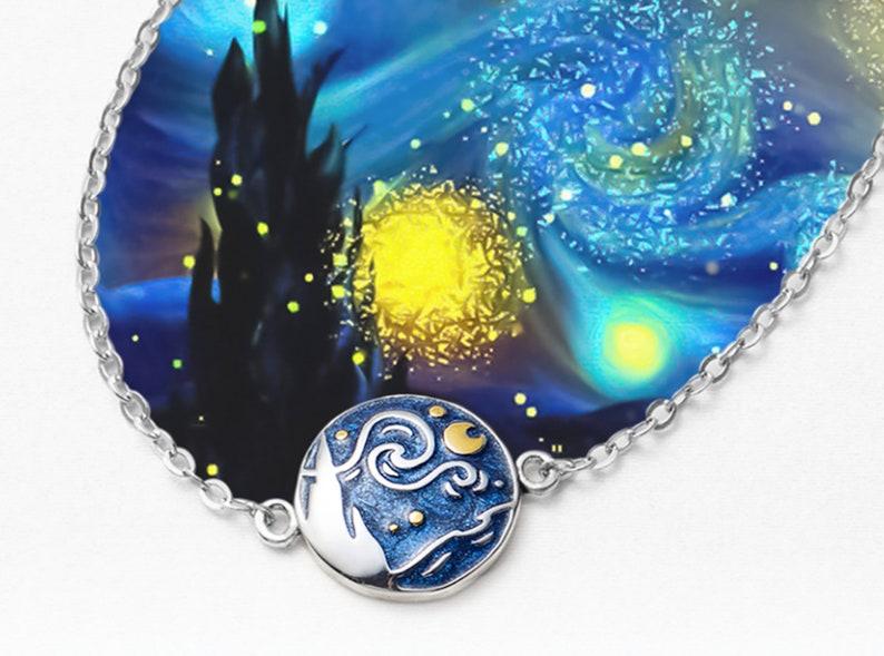 Sterling Silver Van Gogh Inspired Enamel Cloisonne Star and Moon Night Oil Painting Bracelet