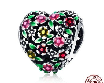 Valley Of Flowers Heart Charm