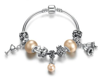 Romantic Silver Plated Bracelet with Wineglass Beads