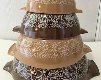Vintage Pyrex Woodland Cinderella Mixing Nesting Bowls Brown Tan 1978-1983