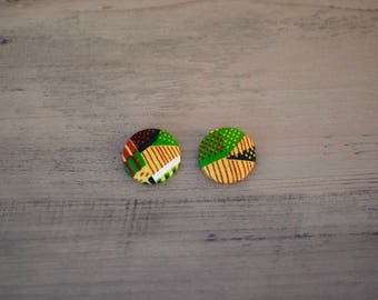 Kente Handmade Fabric Button Earrings