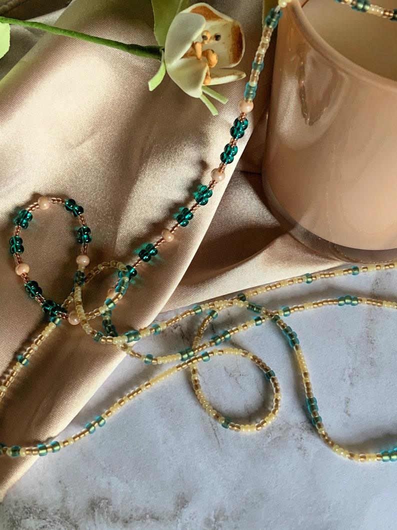Waistbeads  African Waistbeads  Handmade Jewelry  Teal Beads  Champagne Beads  Glass Beads