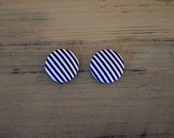 Navy Blue and White Stripe Handmade Button Earrings