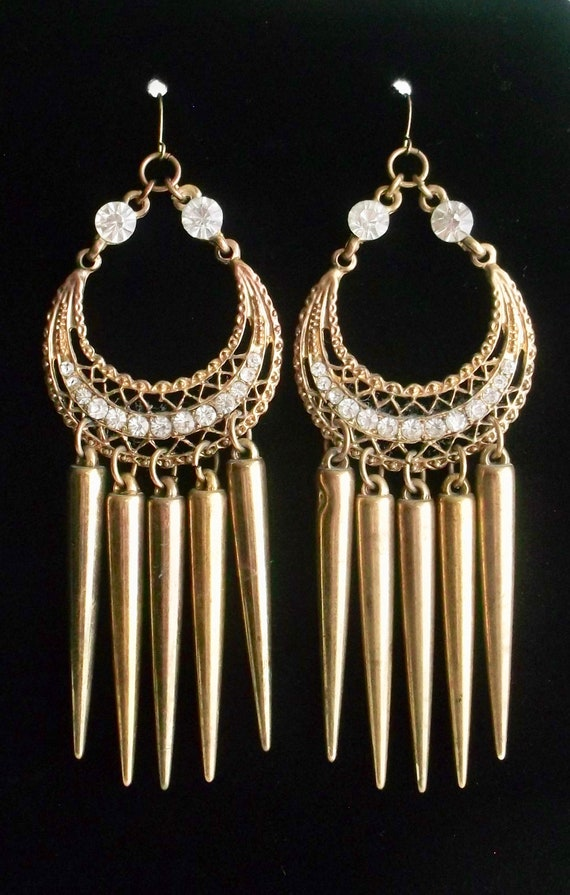 Long Chandelier Earrings, Brass Filigree Crystal E