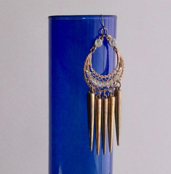 Long Chandelier Earrings, Brass Filigree Crystal … - image 3