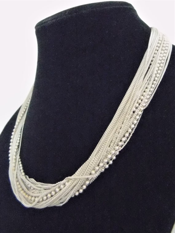 Sterling Silver Multi Chain Necklace   T2 - image 1