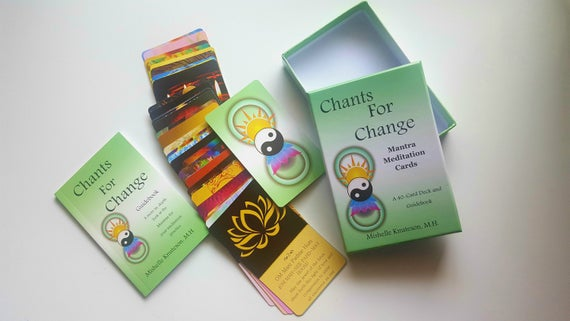 Sanskrit Mantra Meditation card deck, affirmation cards, yoga gift,  meditation gift, spiritual gift,Free Shipping US