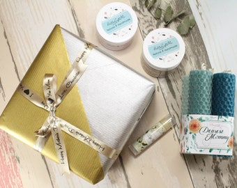 Happy Mother's Day/ Happy Birthday Mom/ New Mom Gift/ Gift For Her/ Wife Spa Gift Set/ Body Scrub/ Body Lotion/ Lip Balm/ Beeswax Candle
