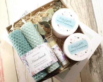 Birthday/ Personalized Bridesmaid Gifts/ Wedding/ Bridal Party Gift Set Beeswax Candle Sugar Walnut Scrub Body Lotion Lip Balm Custom Ribbon