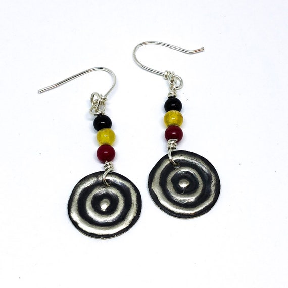 Sterling Silver Gemstone Earrings Aboriginal Artist Waterhole