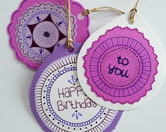 Birthday Gift Tags - Purple