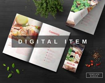 gurih 86 template bundle cookbook template menu template modern cookbook print design print template indd psd recipe book