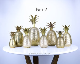 Mid Century Pineapple Statue Candle holders Antique Gold Metal Tropical Beach House Set of 3 Small Brass Pineapple Figurines Vintage