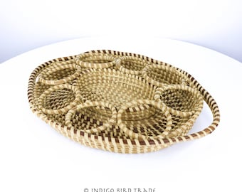 """16"""" Large Vintage Sweetgrass Basket Tray Charleston SC Antique Woven Wicker Basket Handles Cup Bottle Holder Sweet Grass Gullah Handcrafted"""